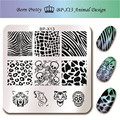 1 Pc BORN PRETTY Nail Art Stamp Template Animal Tiger Pattern Design Skull Stylish Image Stamping Nail Plate BP-X13 6*6cm