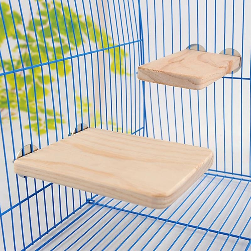 Squirrel Parrot Bird Standing Platform Wood Cage Board Hamster Pet Rat Hang Toy 2018