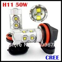 10pcs Lot Super Brightness 50W Cree High Power H4 H7 H11 Fog Bulb High Power H4
