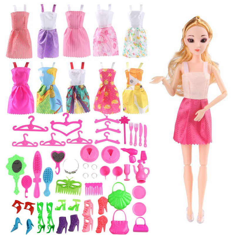 Doll Set Toyss Hobbies Doll Dolls Set Gift for Girl Pink Skirt Clothes Play House Toy Shoes Glasses Handbag Dress