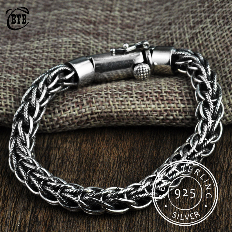 Men Vintage S925 Width Thai Silver Chain Charms Bracelets & Bangles 100% 925 Sterling Silver Jewelry Buddha Bracelets for WomenMen Vintage S925 Width Thai Silver Chain Charms Bracelets & Bangles 100% 925 Sterling Silver Jewelry Buddha Bracelets for Women