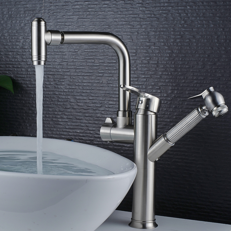 Kitchen Faucets Chrome/brushed Polished Silver Bathroom Tap Pull Out Swivel Doual Handle Sink Mixer Hot Cold Water Deck Mounted hpb copper deck mount pull out kitchen faucet sink mixer tap cold hot water taps swivel spout chrome brushed robinet de cuisine