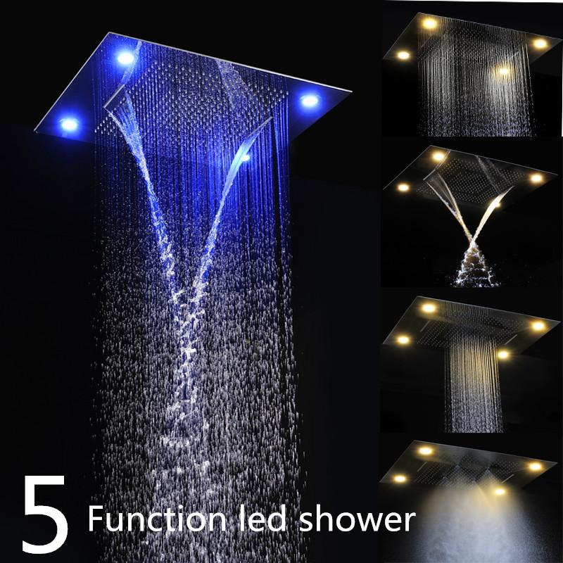 buy luxury embeded ceiling rain shower heads multi function 600800mm remote control led rainfall waterfall massage shower heads from - Rain Shower Heads