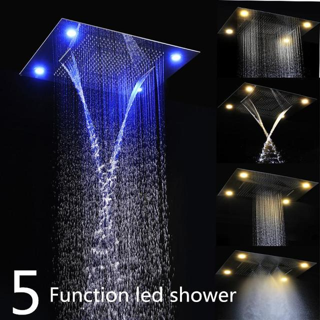 Superbe Luxury Embeded Ceiling Rain Shower Heads Multi Function 600*800mm Remote  Control LED Rainfall Waterfall