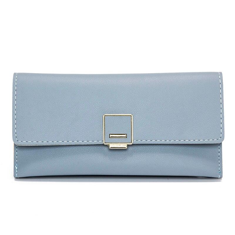 Minimalist Long Female Wallet Three Fold Coin Purse Fresh Elegant PU Leather Women Purse Card Holder Clutch Money Bags Billetera