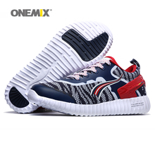 ONEMIX Free Ship Man Running Shoes For Men Run Breathable Athletic Trainers Navy Zapatillas Sports Shoe Outdoor Walking Sneakers