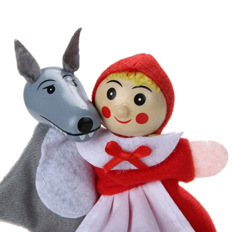 4pcsLot-Kids-Toys-Finger-Puppets-Doll-Plush-Toys-Little-Red-Riding-Hood-Wooden-Headed-Fairy-Tale-Story-Telling-Hand-Puppets-4