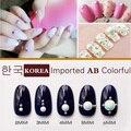 1000 pcs 3D Importado Coreano Moda AB Colorido Dicas Da Arte do Prego de cerâmica Pura Pérola Gem Glitter Manicure DIY Decoração