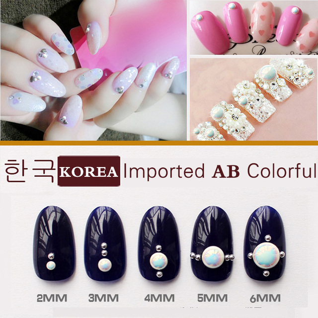 1000pcs 3D Imported Korean Fashion Pure ceramic AB Colorful Nail Art ...