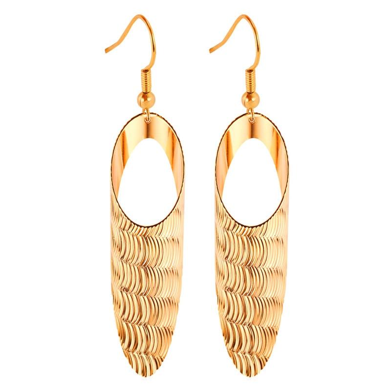 f46318379521 Oro color elegante largo para pendiente de gota oro amarillo color roca  para metal punk regalo mujeres joyas E242