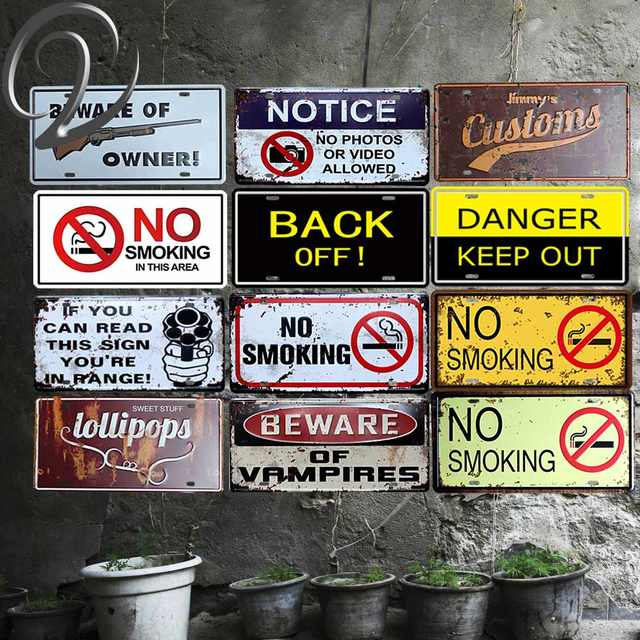 Beware Of Gun Owner Vintage Metal Sign Garage Coffee Bar Tin Signs Shabby Chic Plaque For Home Cafe Pub
