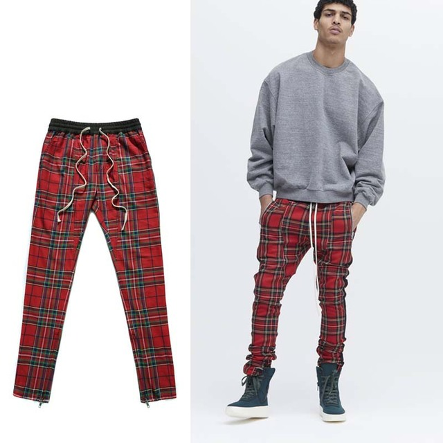Wholesale New Style Men Plaid Casual Grid Trousers Drawstring Waist