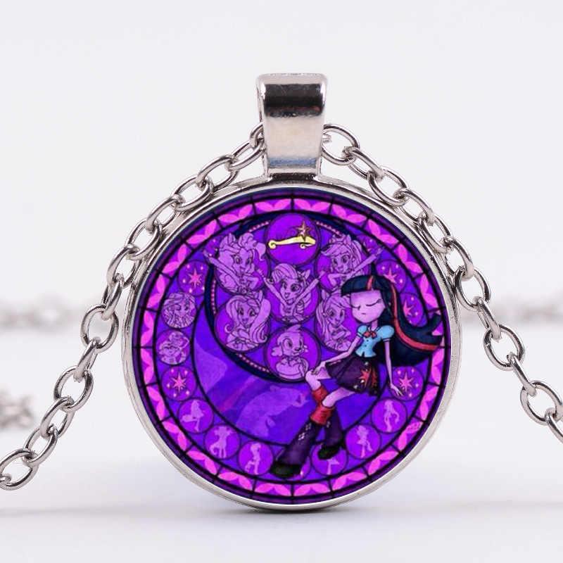SONGDA マイ · リトル · ホース保利 Poni ネックレス私の魔法の虹馬ガラスカボション時間宝石ロングネックレスのための女の子