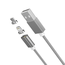 Moizen With 2 Adapter Magnetic Nylon Cable 2A Fast Charging Data Cable For iPhone Micro USB Magnetic Cable Adapter For Android