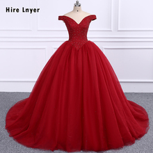 HIRE LNYER Full Beading Crystal Bodice Pearls Skirt Add Coarse Tulle Inside With 6 Ring Petticoat Burgundy Quinceanera Dresses