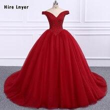 雇う LNYER フルビーズクリスタルボディ真珠追加粗いとュールイン 6 リングペチコートブルゴーニュ Quinceanera のドレス