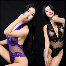 ERFSQIYALHJ Lace Sexy Lingerie Exposed Bust Transparent Bodysuit for Women Erotic Babydoll  Tight-fitting Siamese Black & Purple