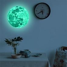 3D Luna grande pared fluorescente etiqueta resplandor extraíble en el oscuro pegatinas dormitorio DIY decoración casa muebles envío de la gota