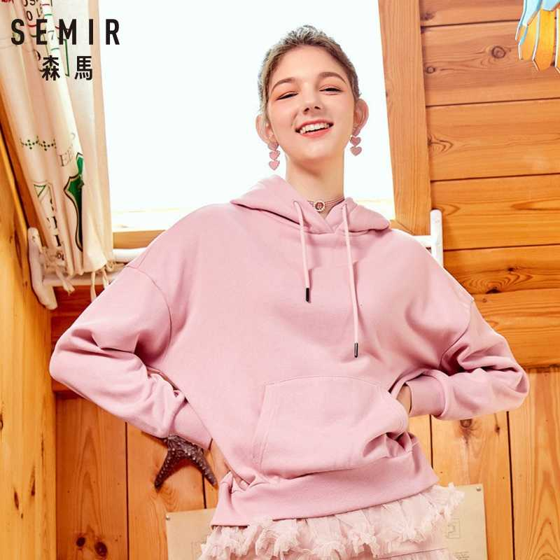 SEMIR Frauen Mit Kapuze Sweatshirt Frauen Hoodie Sweatshirt Pullover Hoodie Gebürstet mit Front Tasche und Kordelzug Haube