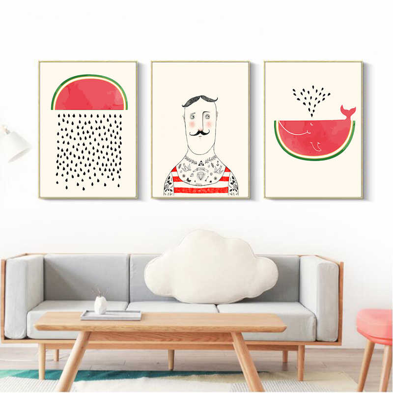 Cartoon Fruit Watermelon Whale Man Canvas Wall Art Print Minimalist Decor Painting Posters For Baby Kids Room Wall Decor Picture