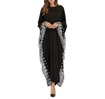 Fashion Adult lace embroidered Robe Dress Muslim Turkish Dubai Abaya Musulman Arab Worship Service Large Size plus size arab embroidered open front blouse