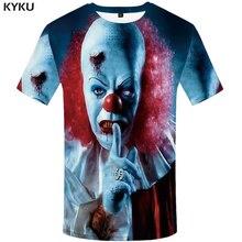 KYKU Clown T-shirt Men Tshirt The Film Printed Clothes Japan Style Terror Ghost Cool 3d Anime Mens Clothing New