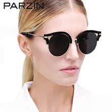 Parzin New Polarized Sunglasses Women Lover  Vintage Tr 90 Oversized Sun Glasses Driver Glasses With Case Black 9812