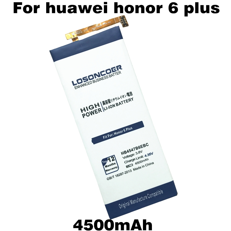 imágenes para HB4547B6EBC LOSONCOER 4500 mAh para Huawei Honor 6 Plus Batería PE-TL00M UL00 CL00 PE-TL20 Teléfono Recargable Li-ion