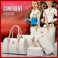 Venta al por mayor 2015 mujeres alto grado de moda bolsos bandolera mujeres messenger bags imprimir monederos 6 unids/set bolsas