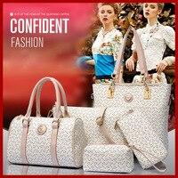 Wholesale 2015 women fashion high grade leather shoulder bag handbags women messenger bags print purses 6 pieces/sets bolsas