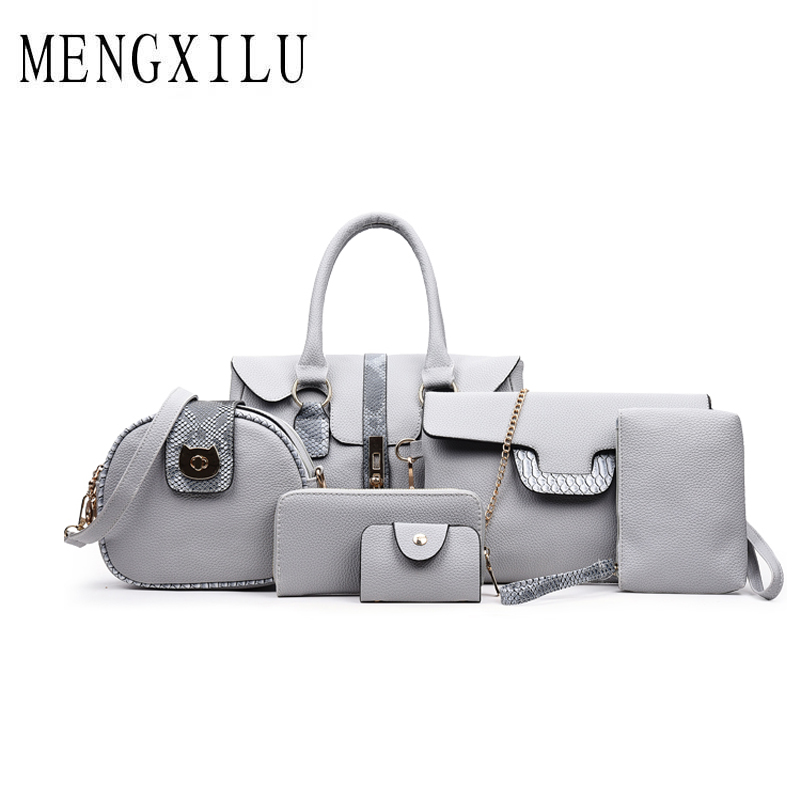 MENGXILU Fashion Serpentine Women Handbags High Quality PU Leather Women Crossbody Bag 6 Sets Women Tote Bags Patchwork Tote Bag square pu tote bag