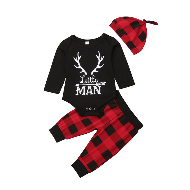 f99105292 Little Man Newborn Baby Boy Clothes Long Sleeve Deer Cotton Bodysuit Tops  Red Plaid Pant Hat 3PCS Outfits Xmas Clothing Set