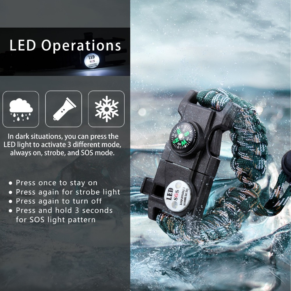 Multifunction Outdoor Survival Paracord Bracelet Camping Equipment Emergency Multi tool Survival Braided Pulseras Rescue Rope Outdoor Bracelets Parachute Cord Paracord (2)