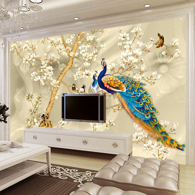 Custom Mural Wallpaper 3D Stereo Magnolia Flowers Peacock Wall Painting Living Room TV Sofa Background Wall Papers For Walls 3 D custom photo wallpaper 3d stereo european flower pattern living room bedroom hotels ceiling wall mural wallpaper for walls 3 d