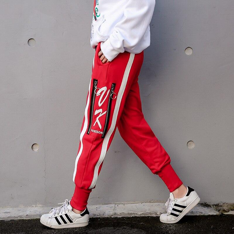 Donna Primavera Inverno del Cotone Della Rappezzatura Matita Pantaloni Zipper Stile Europeo Cuciture Pantalone Nero Rosso Plus Size S XXXL - 2