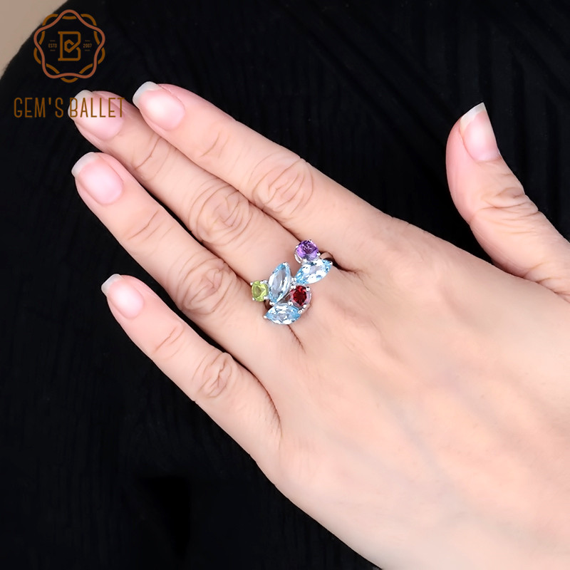 Gem's Ballet Multicolor Natural Sky Blue Topaz Garnet Peridot Amethyst Gemstone 925 Sterling Silver Ring For Women Fine Jewelry