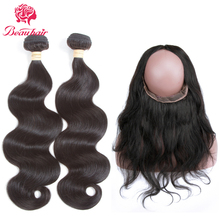 Beau Hair 3 Bundles With 360 Lace Frontal Deals Malaysia Body Wave Natural Color Non-Remy Human Hair Weaving With Closure Deals