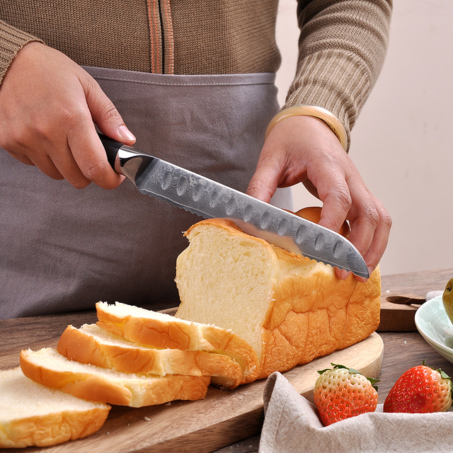 SUNNECKO Professional 8 inch Bread Knife 73 Layers Damascus Steel Sharp Blade Kitchen Knives G10 Handle Cake Slicer Cutter Knife