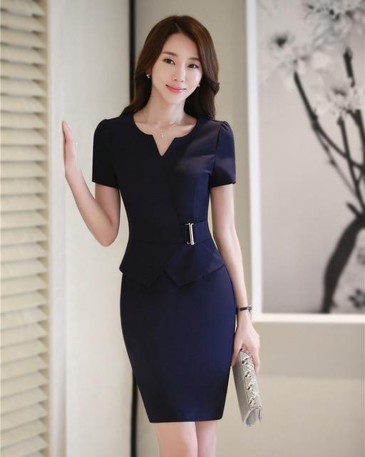 Summer women dresses short sleeve ladies work wear dress for Office uniform design catalogue