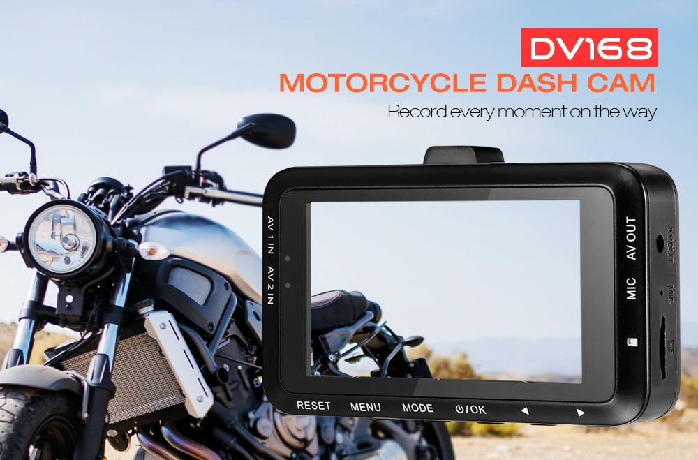 DV168 Motorcycle Dash Cam 1080P HD G-sensor Dual Camera Loop Record Driving Recorder Parking Monitor with Front and Rear Camera