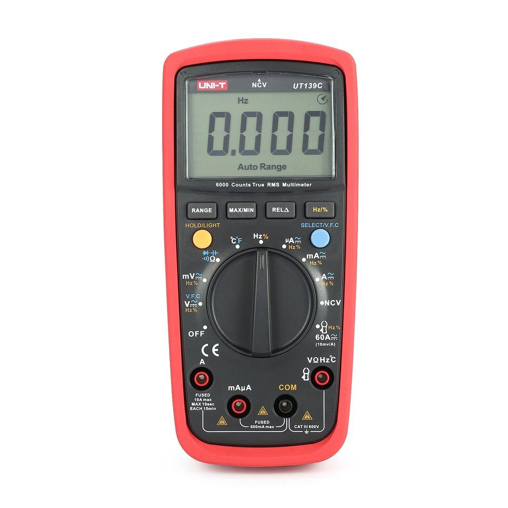 UNI-T UT139C 6000 Counts Digital Multimeter Voltmeter with Auto Range True RMS DC/AC Voltage LoZ Temperature Capacitance VFC uni t ut191t professional multimeter true rms ip65 waterproof dustproof digital multimeter temperature loz voltage measurement