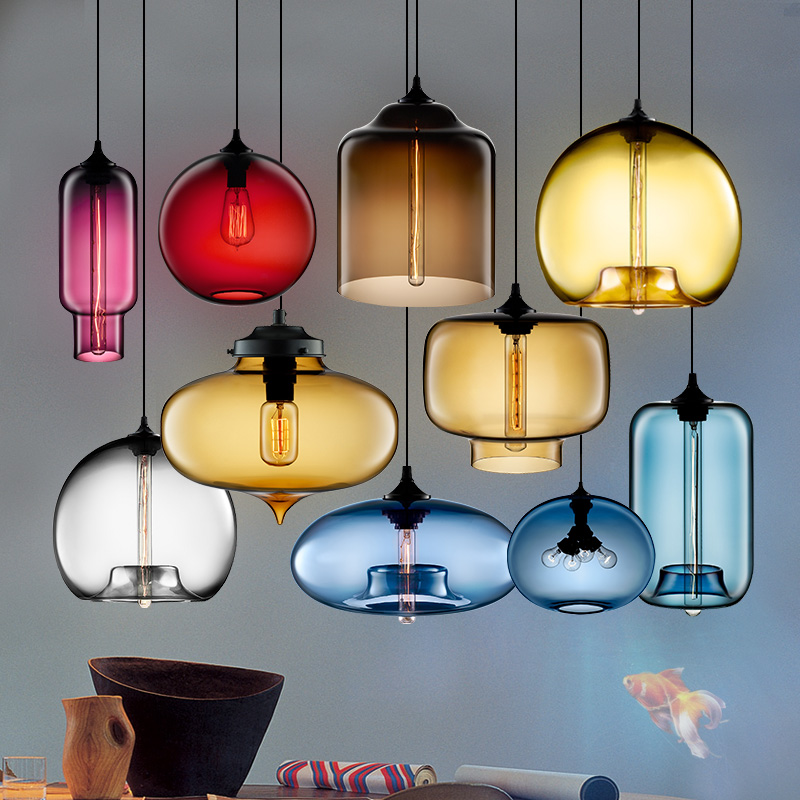 New Glass antique lamps E27 pendant light 110V 220V Bar lighting Restaurant lamps 7 colors and