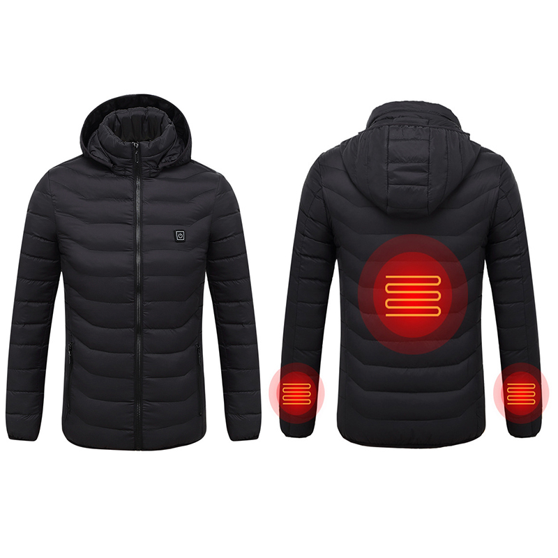 Men New Winter Warm USB Infrared Heating Winter Jacket Men Smart Thermostat Pure Color Hooded Heated   Parkas   Warm Jacket