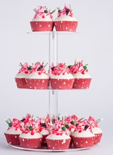 YestBuy 3 Tier Maypole Round Clear  Wedding Party Tree Tower Acrylic Cupcake Display Stand (3 (15cm gap )(12.4 Inches)