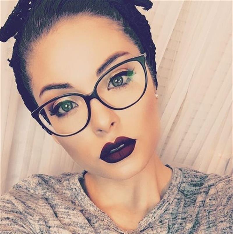 f14589eb2e 2018 Spectacle Frame Cat Eye Glasses Frame Clear Lens Women Brand Eyewear  Optical Frames Myopia Nerd Black Red Eyeglasses Frame