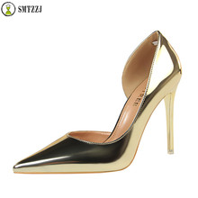 Luxury 2019 Shallow Patent Leather Thin Heels Office OL Ladies Shoes New Arrival Pumps Fashion High Heels Shoes Women Sexy Shoes цена