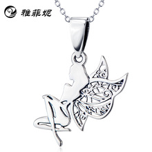 S925 pure silver plating platinum necklace female contracted angel pendant the accessories wholesale supply of goods s925 filaments shaolan craft silver inlaid huang yusui pendant in front of blessing silver supply