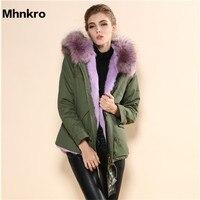 2018 Mr. меховая куртка/модные стильные меховые Европейский Стиль зимняя куртка, сиреневого цвета на меху с коротким мехом зимняя куртка