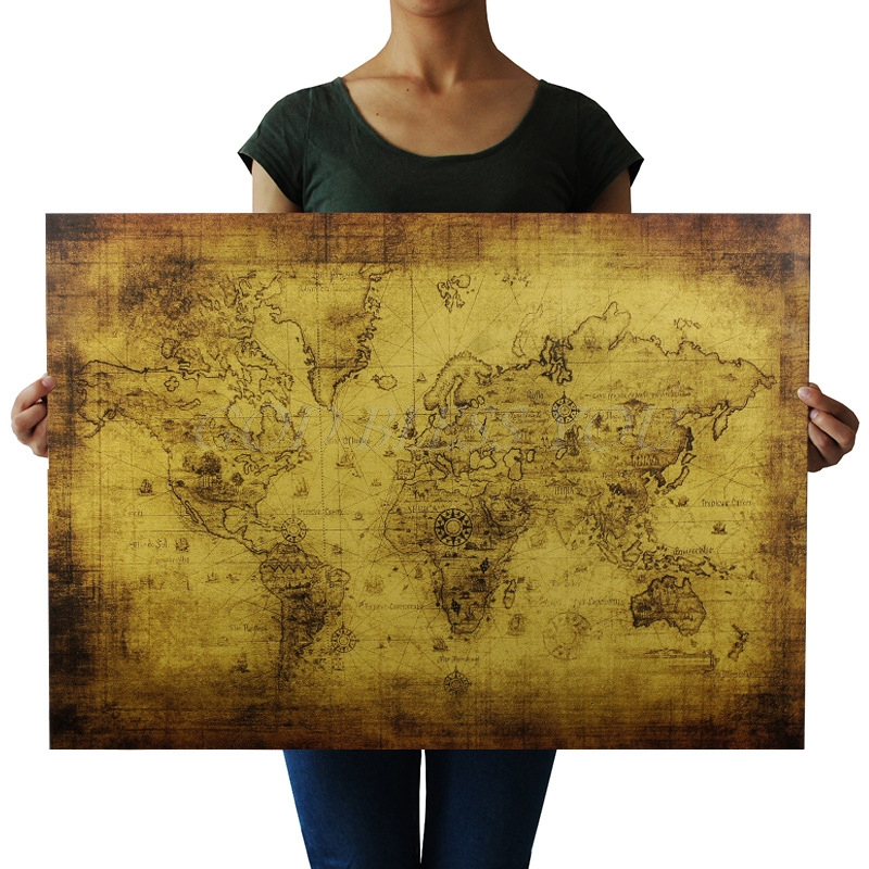 71x51cm large vintage style retro paper poster old world map
