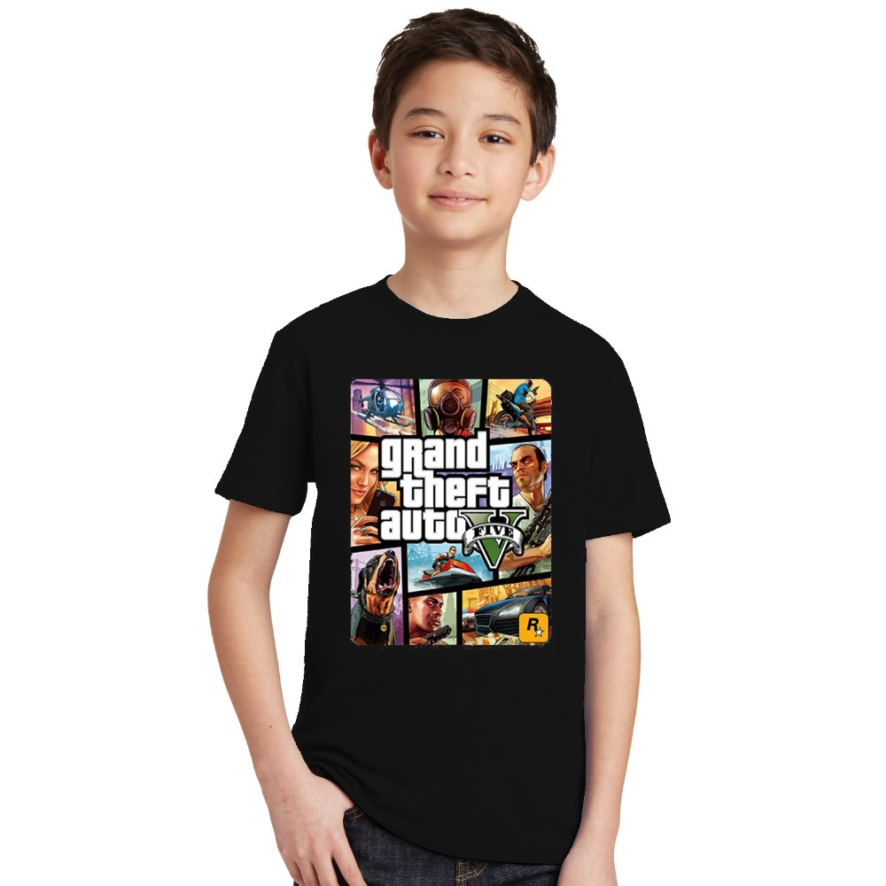 2018 Summer Kids Boy's T Shirt Cartoon Grand Theft Auto Baby Toddler Tees Boys Cotton Tops and GTA 5 Tees Children gta T-shirts